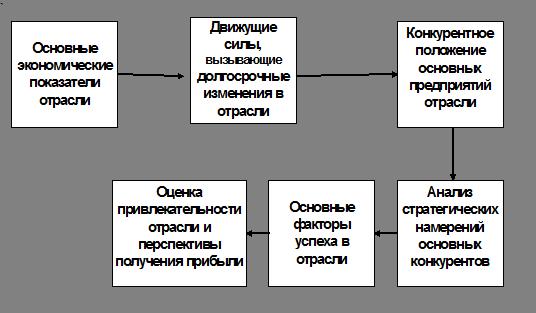 На рисунке 1 показана схема анализа отрасли, которая обобщает опыт западного менеджмента.
